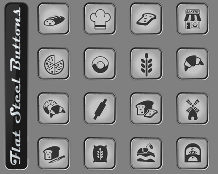 bakery web icons on the flat steel buttons