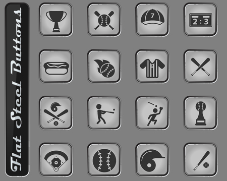Baseball web icons on the flat steel buttons