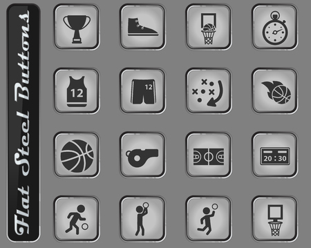 Basketball web icons on the flat steel buttons Illustration