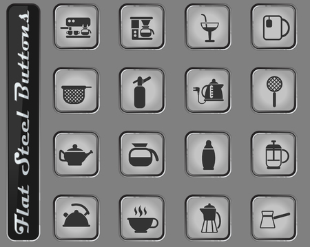 utensils for beverages vector web icons on the flat steel buttons