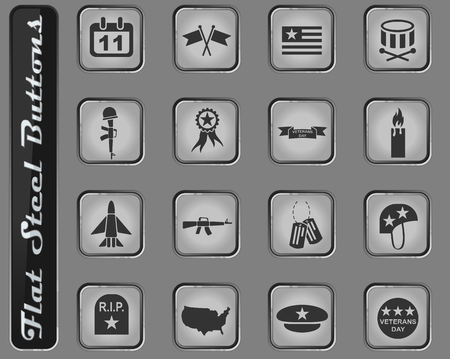 veterans day vector web icons on the flat steel buttons
