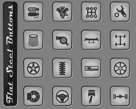 auto tuning vector web icons on the flat steel buttons Illustration