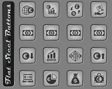 currency exchange web icons on the flat steel buttons