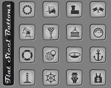 harbor vector web icons on the flat steel buttons