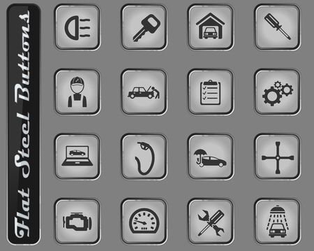 Car service web icons on the flat steel buttons