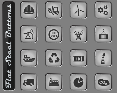 industry vector web icons on the flat steel buttons Illustration