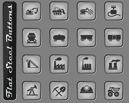 Factory and Industry vector web icons on the flat steel buttons Illustration