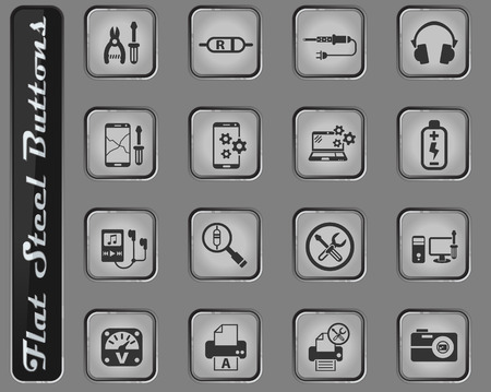 electronics repair vector web icons on the flat steel buttons Illustration