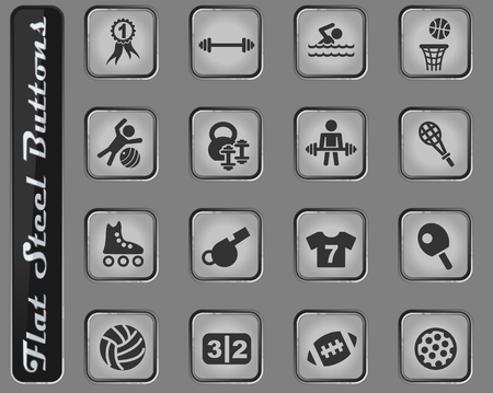sport vector web icons on the flat steel buttons Vettoriali