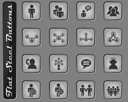 community web icons on the flat steel buttons