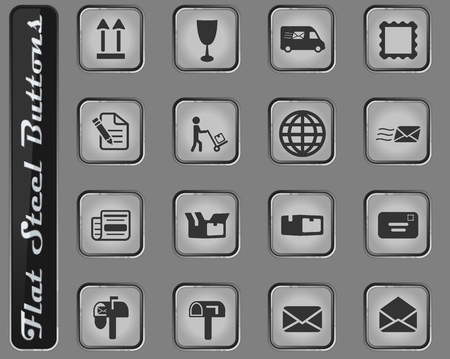 Post service vector web icons on the flat steel buttons