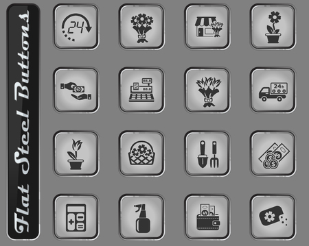 flower shop vector web icons on the flat steel buttons