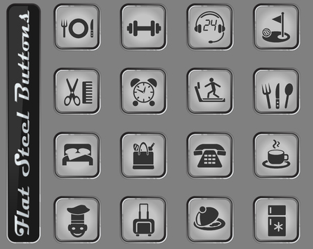 hotel service vector web icons on the flat steel buttons