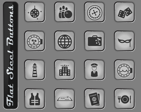 Cruise web icons on the flat steel buttons