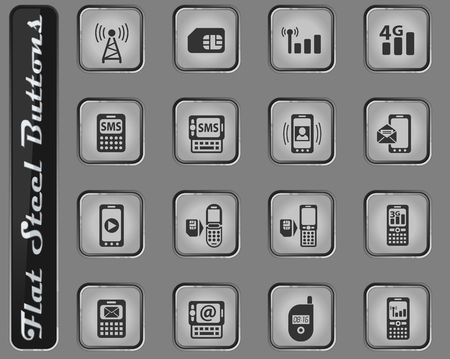 mobile connection vector web icons on the flat steel buttons Çizim