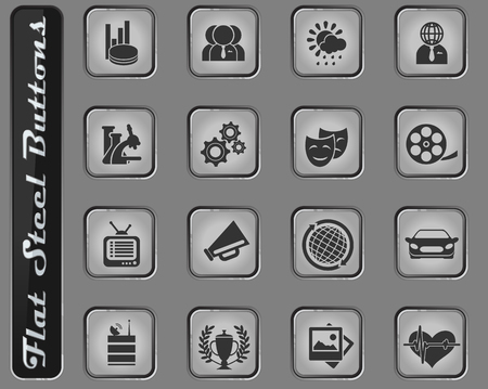 Media vector web icons on the flat steel buttons Vectores