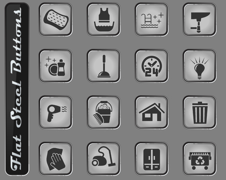 cleaning company web icons on the flat steel buttons Archivio Fotografico - 127725109