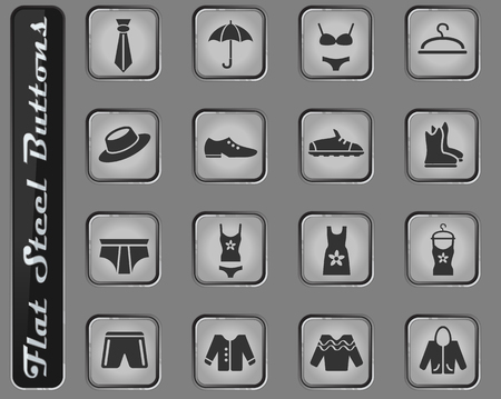 clothes web icons on the flat steel buttons