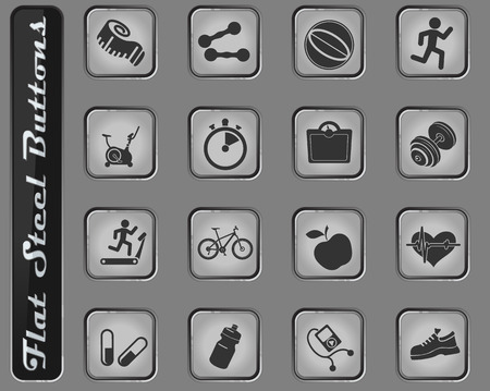 fitness vector web icons on the flat steel buttons Illustration