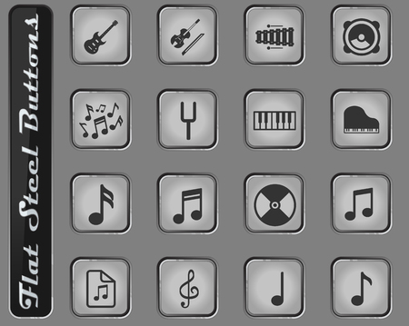 Music vector web icons on the flat steel buttons Illustration