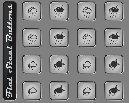 Weather vector web icons on the flat steel buttons
