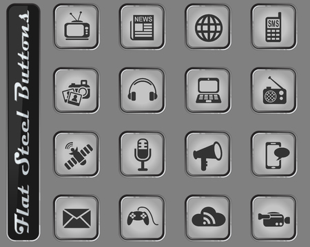 media vector web icons on the flat steel buttons