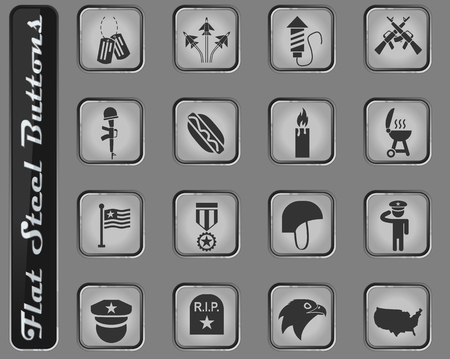 memorial day vector web icons on the flat steel buttons Ilustração