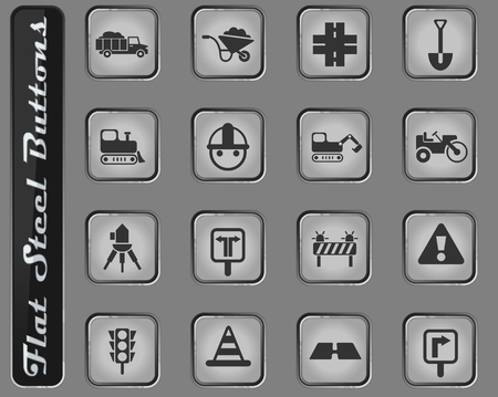 road repairs vector web icons on the flat steel buttons