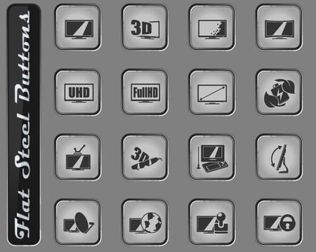 TV features and specifications vector web icons on the flat steel buttons