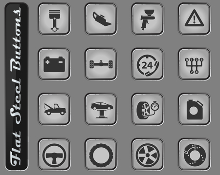 Car service web icons on the flat steel buttons  イラスト・ベクター素材