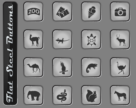 zoo vector web icons on the flat steel buttons
