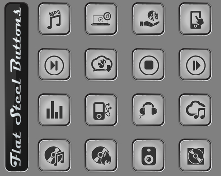 digital music vector web icons on the flat steel buttons