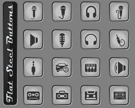 musical vector web icons on the flat steel buttons Ilustração