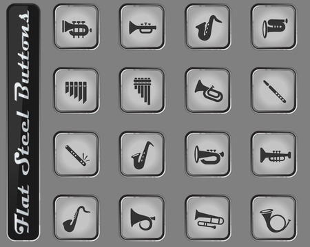 wind instruments vector web icons on the flat steel buttons Banque d'images - 127725264