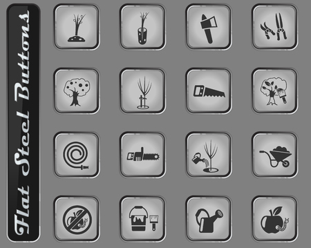 gardening vector web icons on the flat steel buttons Ilustração