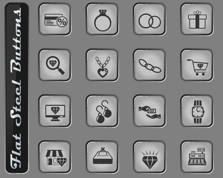 jewerly store vector web icons on the flat steel buttons Illustration