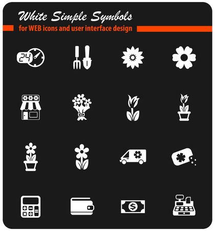 flower shop vector icons for web and user interface design