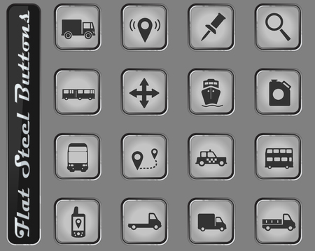 Navigation vector web icons on the flat steel buttons Ilustração