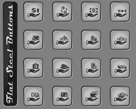 hand and money vector web icons on the flat steel buttons