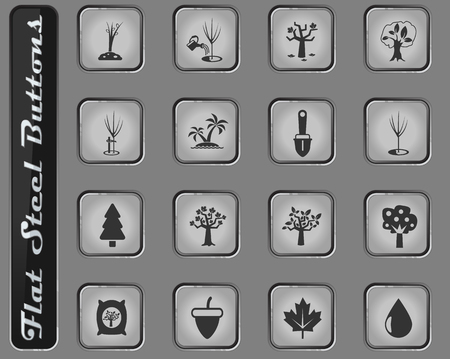 trees measuring tools vector web icons on the flat steel buttons Illustration