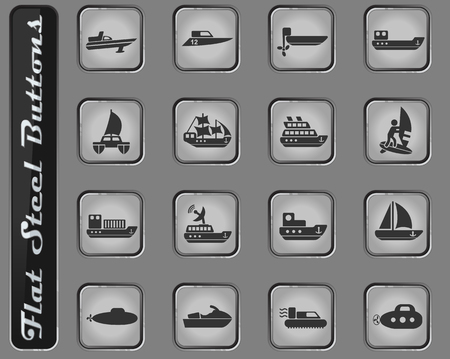 water transport vector web icons on the flat steel buttons