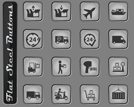 Delivery vector web icons on the flat steel buttons