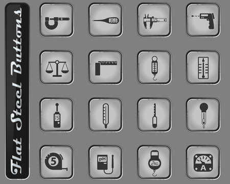 measuring tools vector web icons on the flat steel buttons