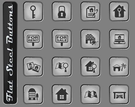 real estate vector web icons on the flat steel buttons