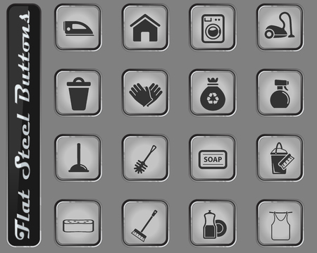 Cleaning service web icons on the flat steel buttons Illustration
