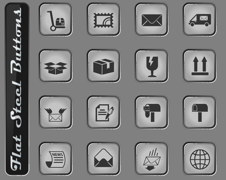 post service vector web icons on the flat steel buttons Illustration