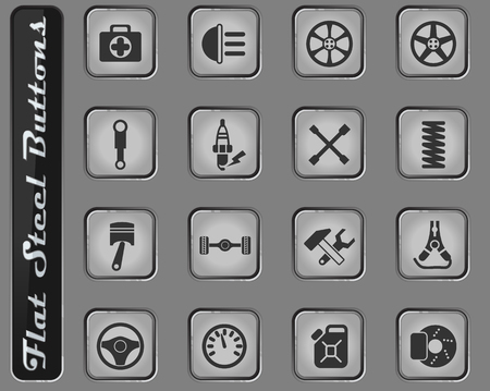 car shop vector web icons on the flat steel buttons Stockfoto - 127725347