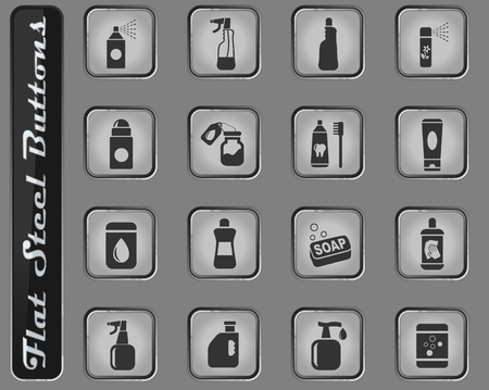 household chemicals vector web icons on the flat steel buttons