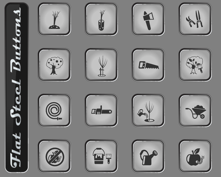 gardening vector web icons on the flat steel buttons Illustration