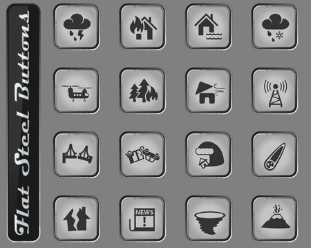natural disasters vector web icons on the flat steel buttons